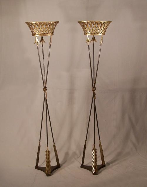 Pair of French Empire bronze arrow jardinieres
