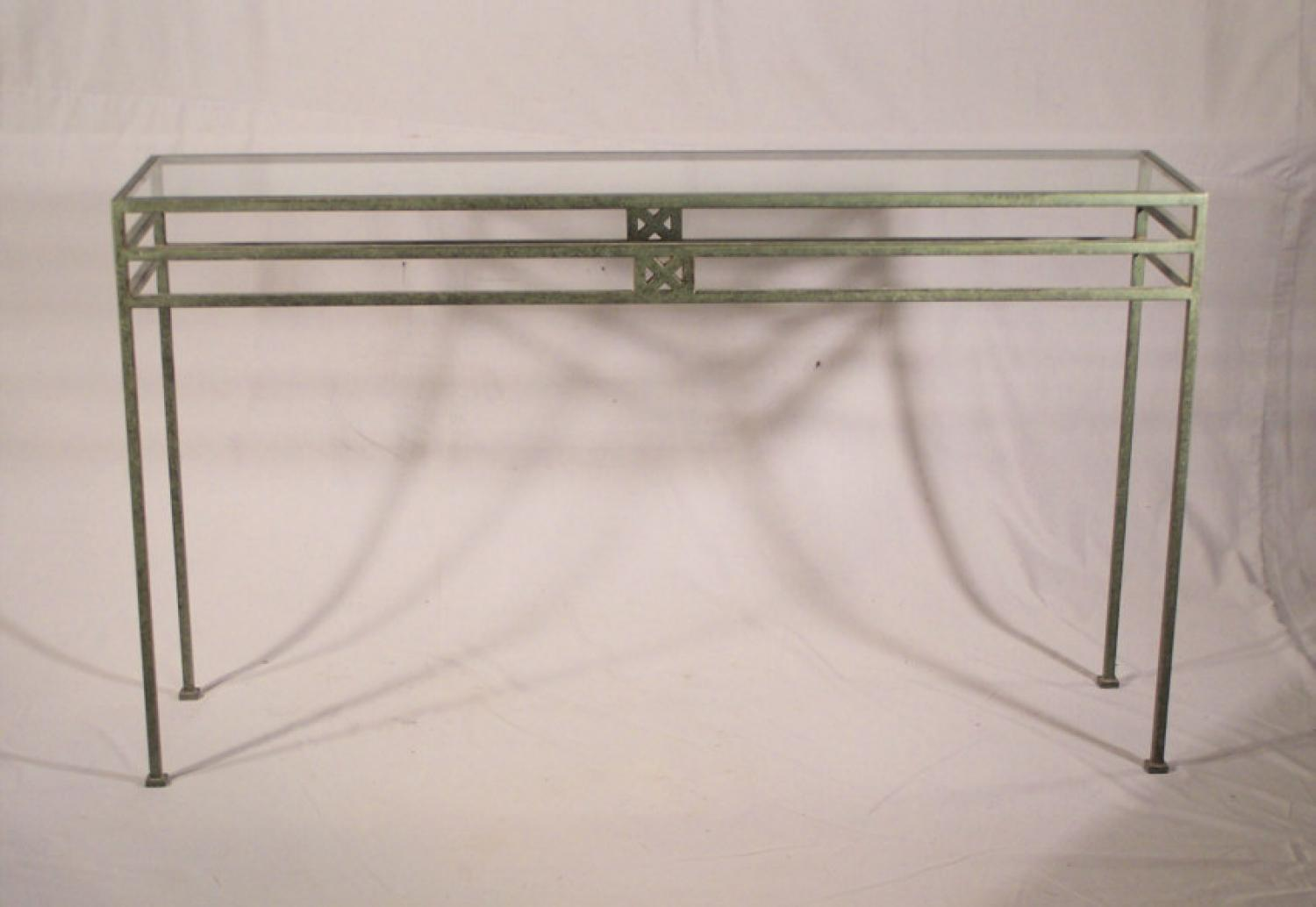 Modern bronze console table with glass top c1970