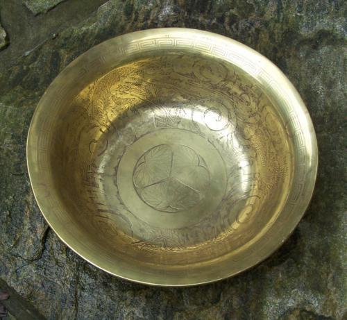 Japanese acid etched brass bowl c1880