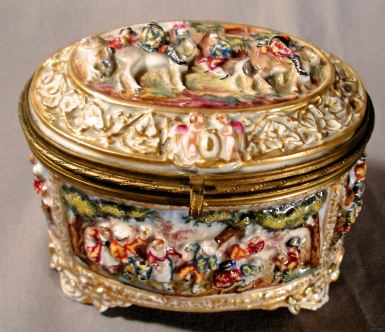 19th C Capodimonte high relief porcelain box