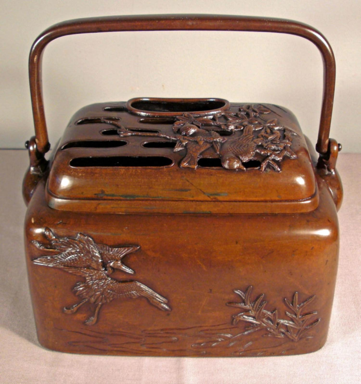 Japanese 19th C bronze brazier or hand warmer c1870
