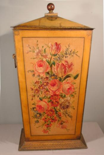 Image of French hand painted tole coal scuttle or hamper
