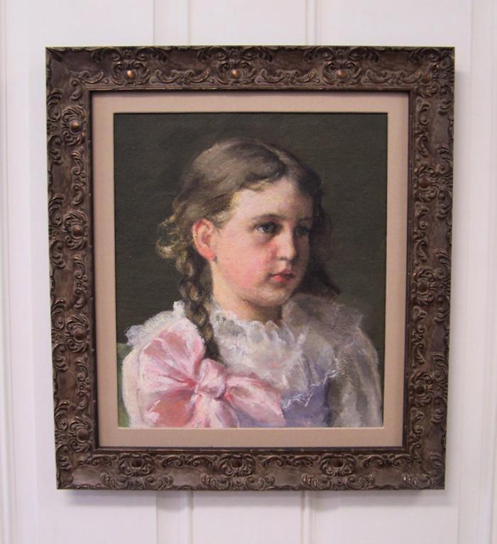 Fannie Burr portrait oil painting of a little girl c1880