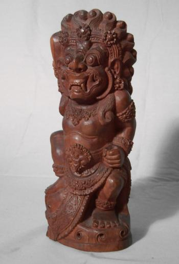 Image of Java temple guardian carved figure c1900