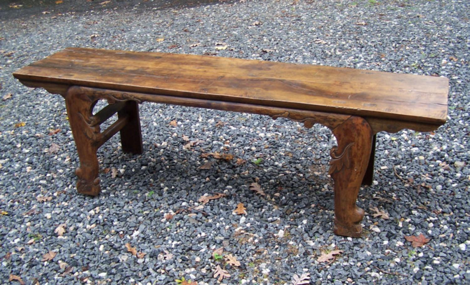 Early Chinese wood carved bench c1800