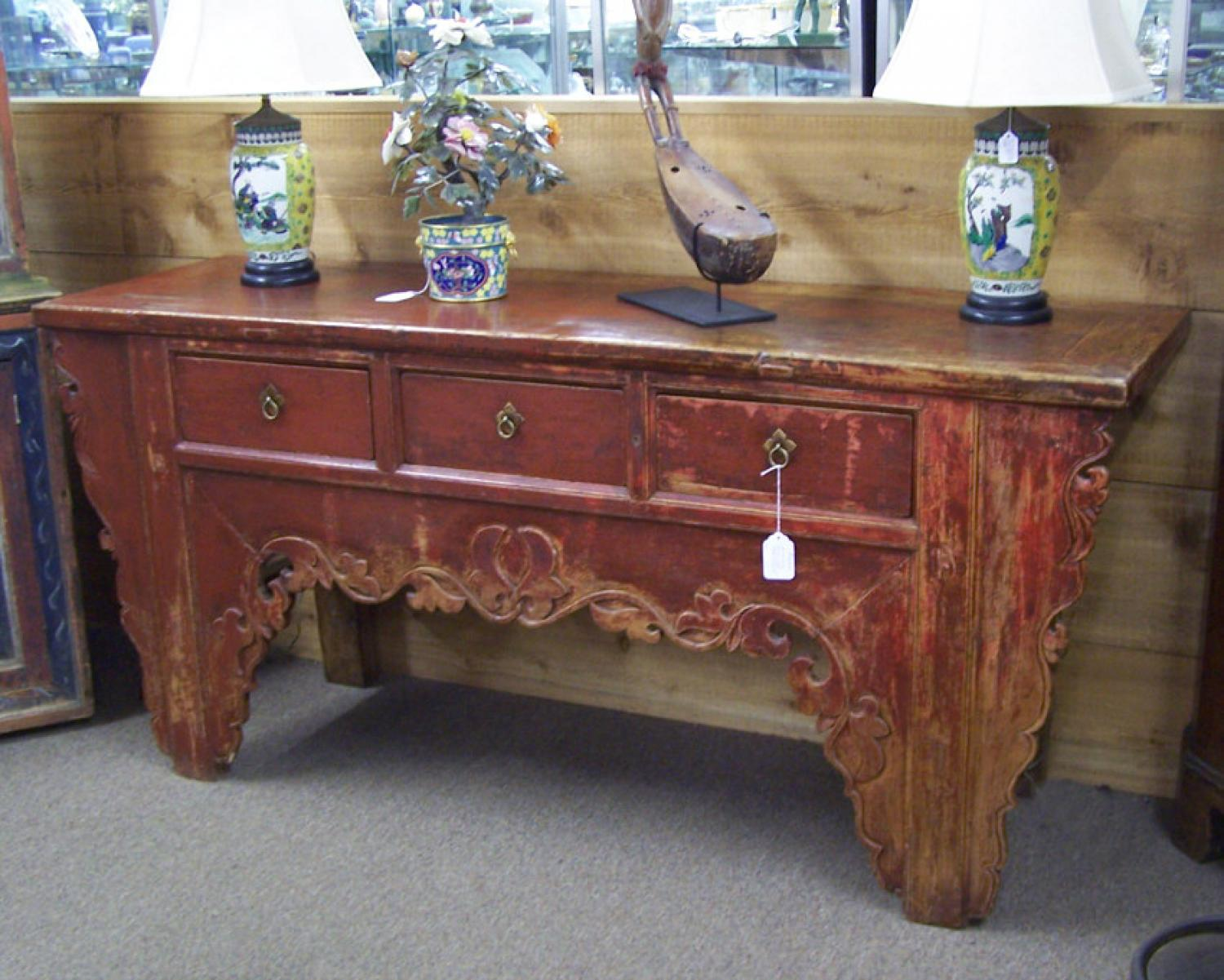 Chinese coffer in original red paint c1800