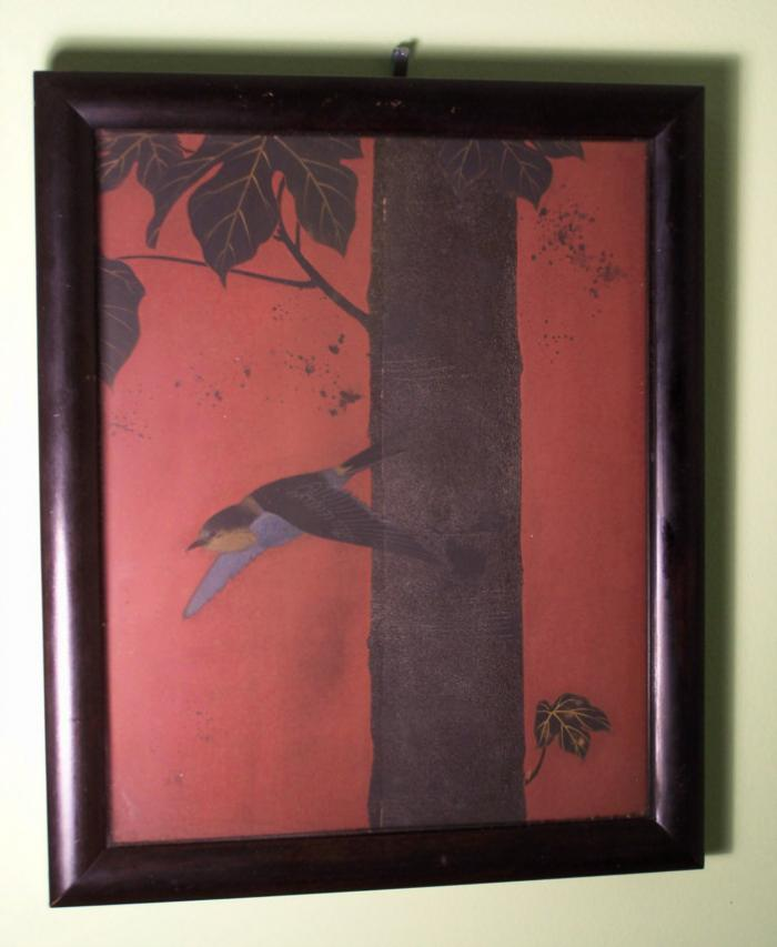 Japanese Edo period negoro lacquer panel with swallow