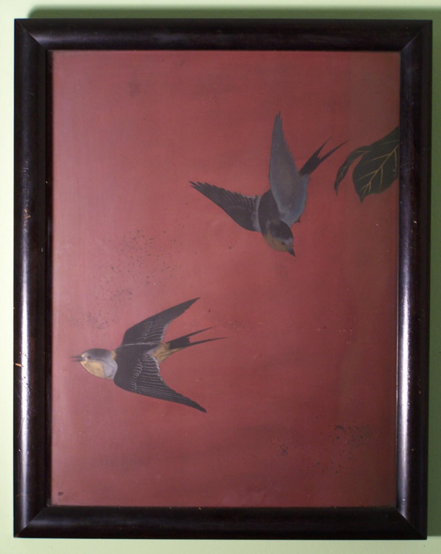 Japanese Edo period lacquer panel with two swallows