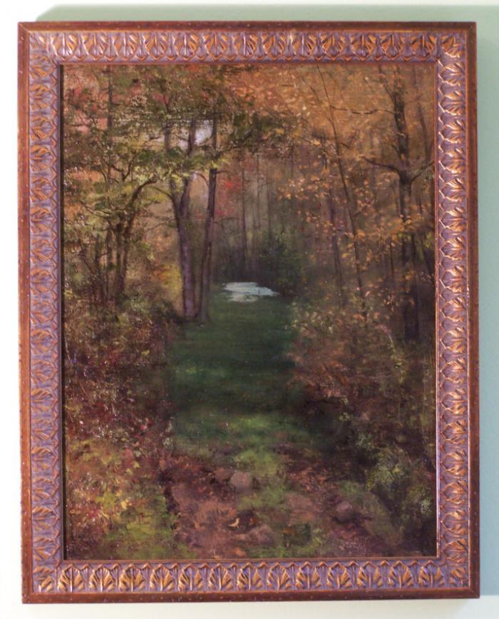 Jennie M Burr landscape oil painting c1900