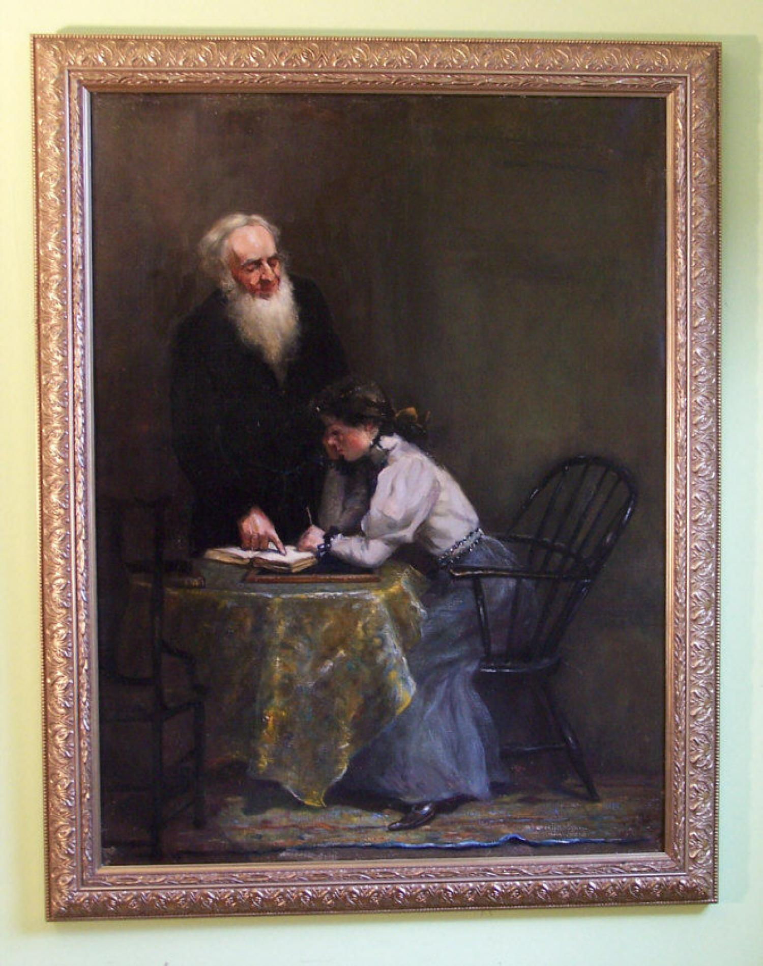 Fannie Burr painting of her sister Jennie and her teacher c1880
