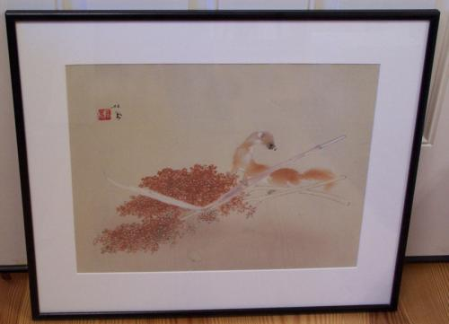 Seiho Takeuchi Mongoose with Berry Branch watercolor on paper