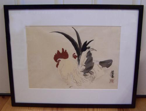 Seiho Takeuchi Strutting Cockerels  watercolor on paper