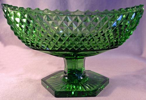 Georgian style cut green crystal footed compote c1910