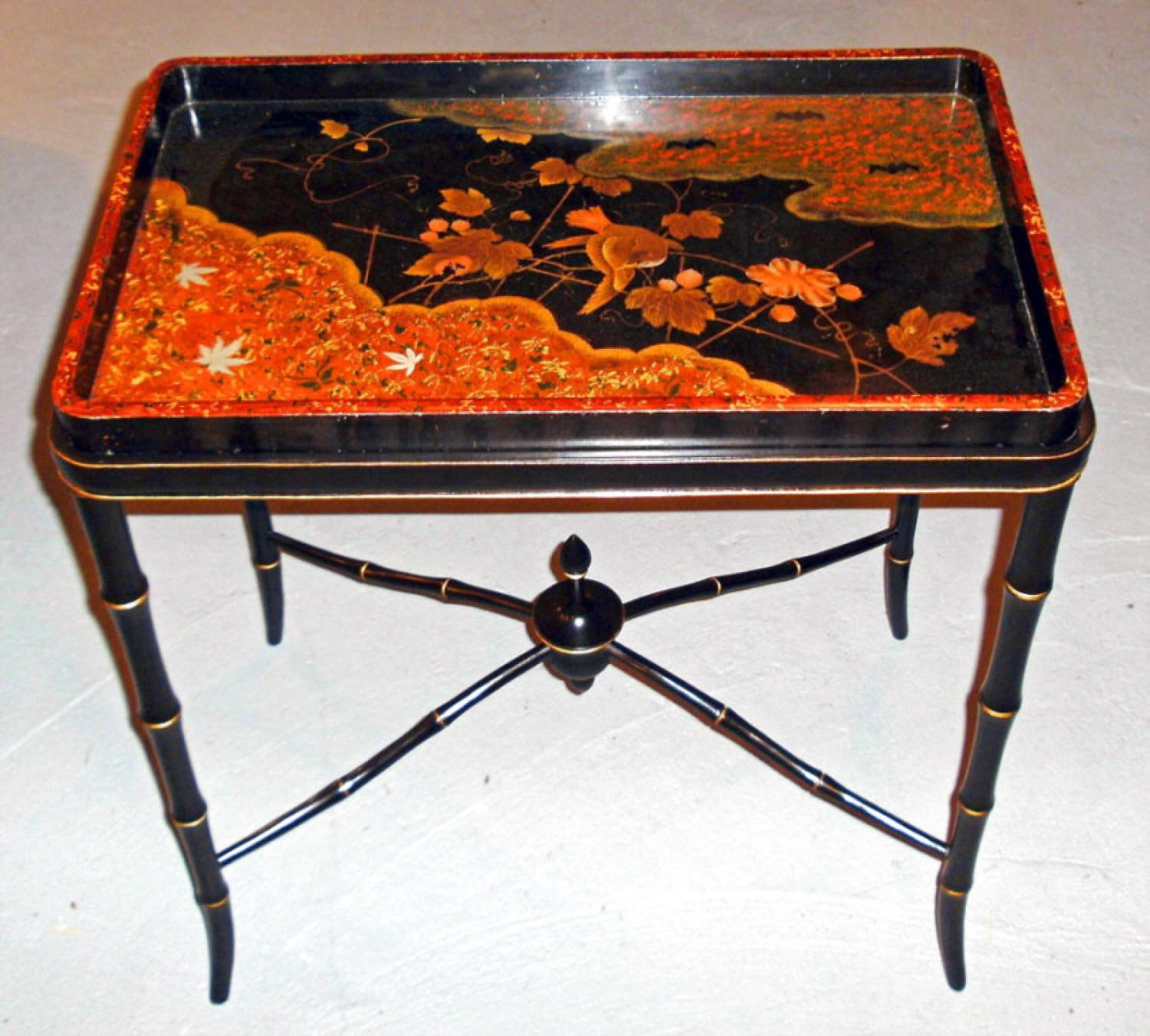 Meiji Period Japanese oblong shape black lacquer tray table