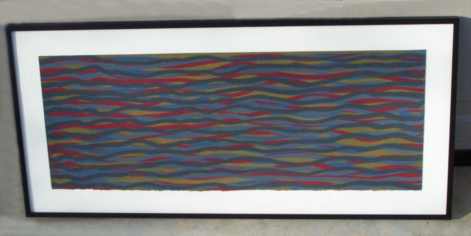 Sol LeWitt gouache on paper lines in color  ID 012796  2004