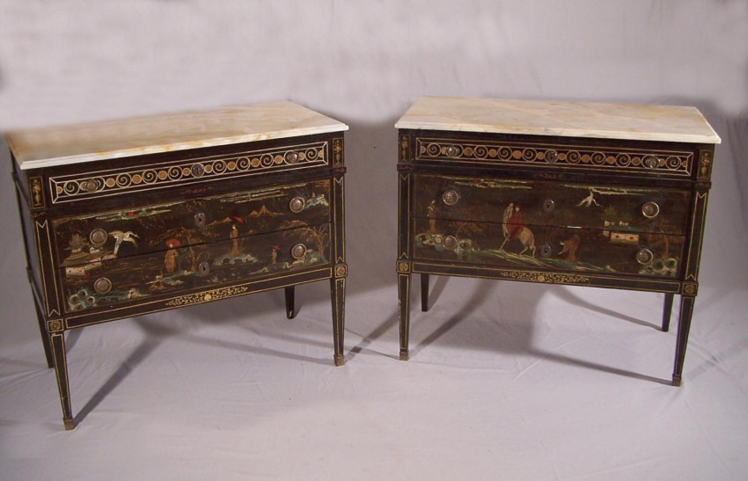 Pair of French 19th century chinoiserie dresser with marble tops