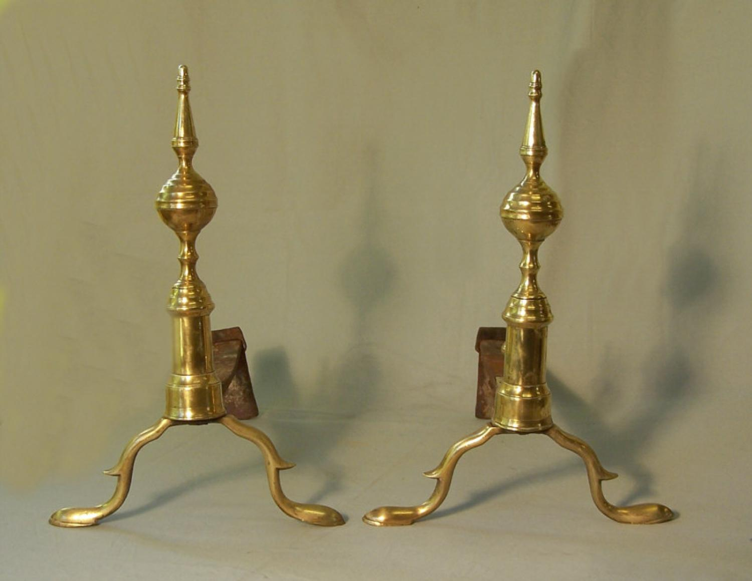 A pare pair of J Davis Boston Federal brass andirons