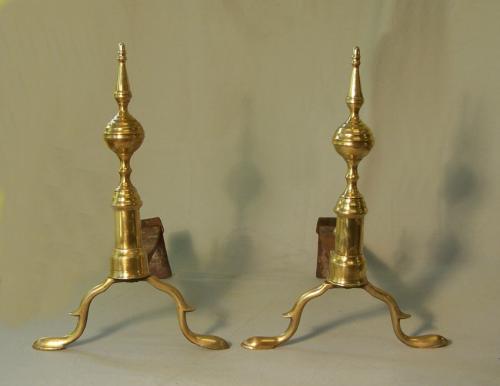 A pare pair of J Davis Boston Federal brass andirons
