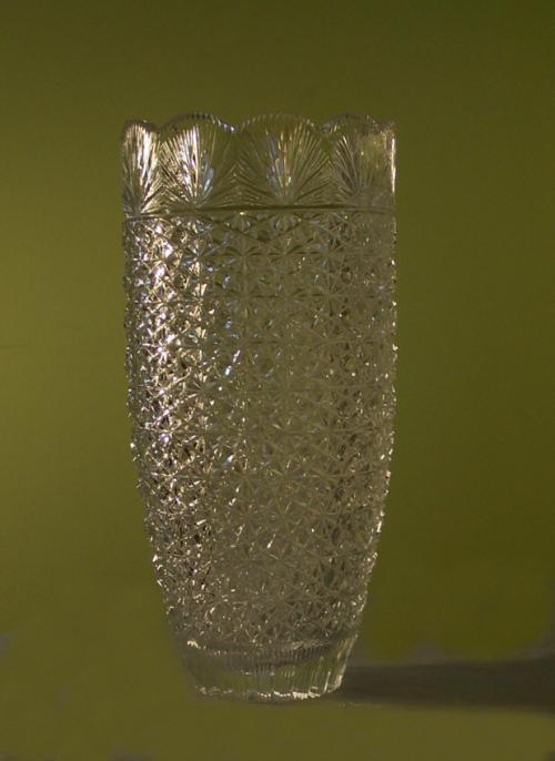 Brilliant cut tall cut glass floral vase c1900