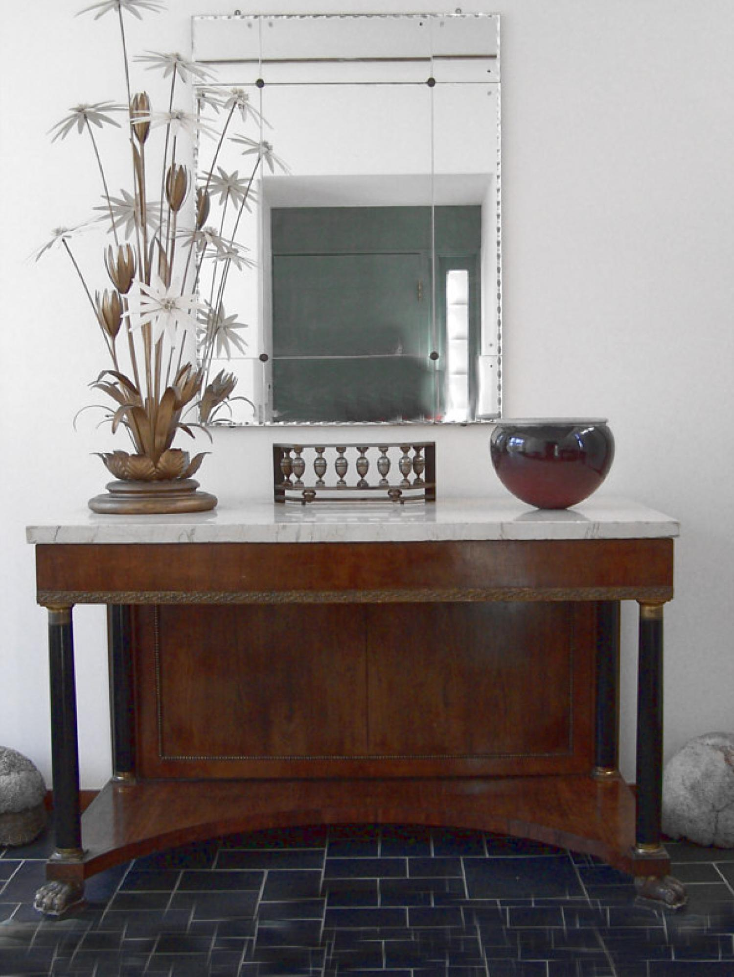 18th C Italian marble top console with claw feet