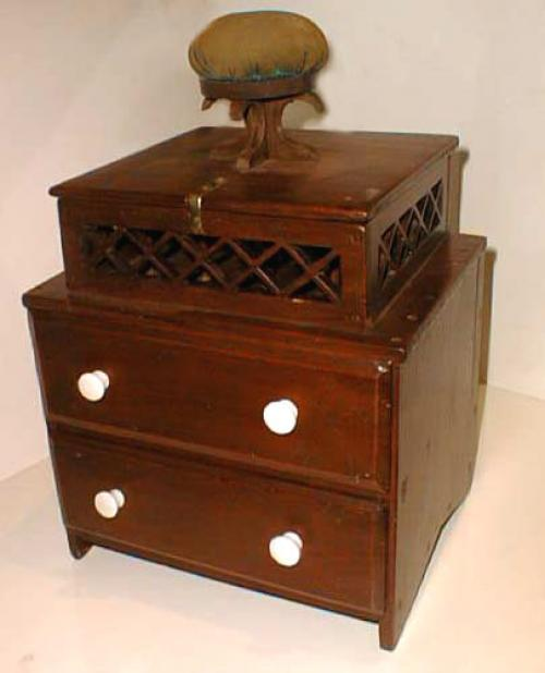 Antique Early American wooden sewing box