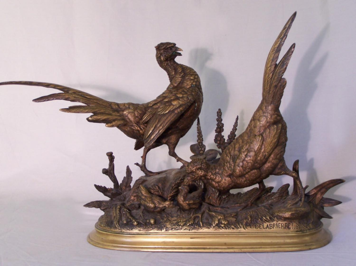 Edouard Paul Delabrierre bronze sculpture pheasant in marsh