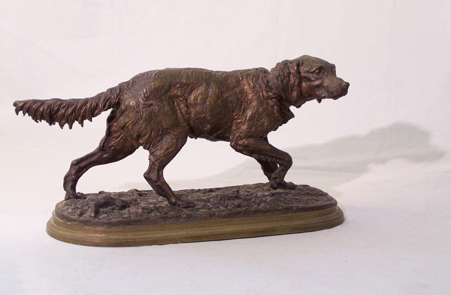 Pierre Jules Mene bronze sculpture of a retriever c1890