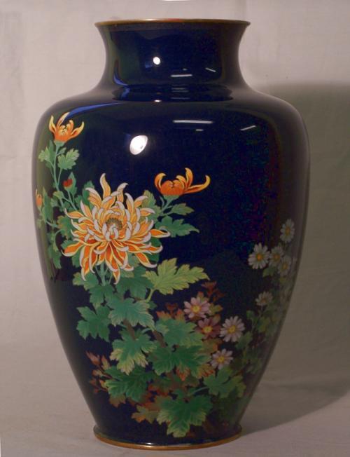 Japanese cloisonne enamel vase with chrysanthemums