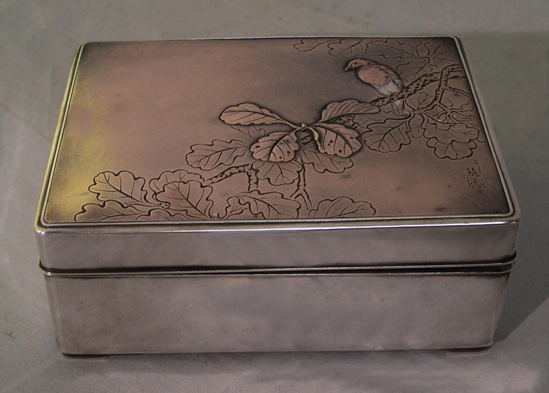 Japanese silver and bronze box mixed metal box c1880