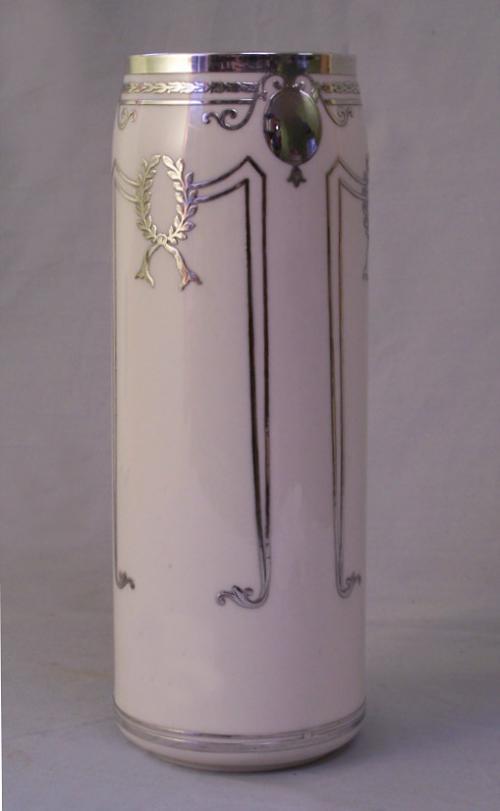 Lenox porcelain vase with sterling silver overlay c1920