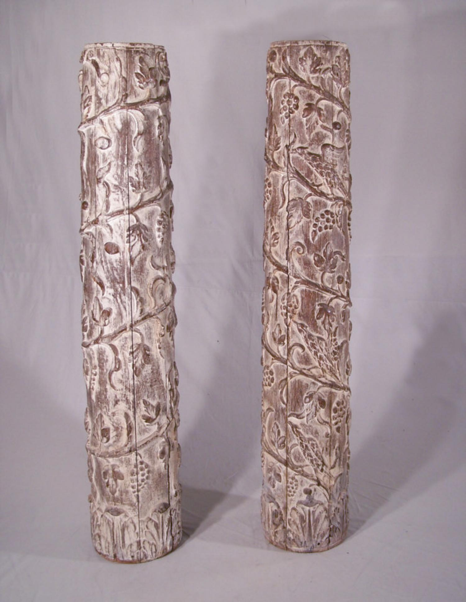 Pair of carved leaf design columns c1875