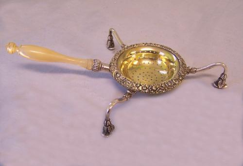 French silver strainer with gold vermeil Paris c1820