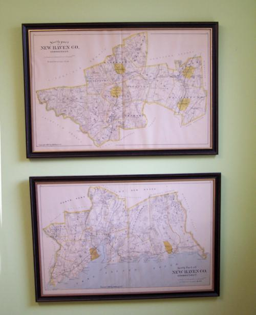 Pair of New Haven CT 1893 maps by D H Hurd and Co