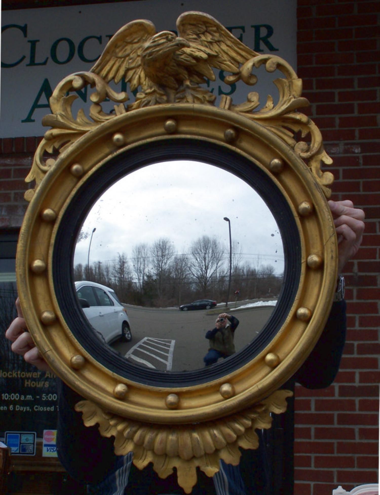 American Federal eagle top gold leaf bullseye mirror c1800
