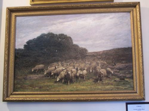George Arthur Hays landscape sheep oil painting on canvas c1900