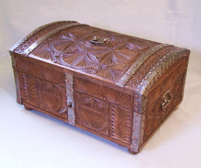 Early European carved oak document box c1720