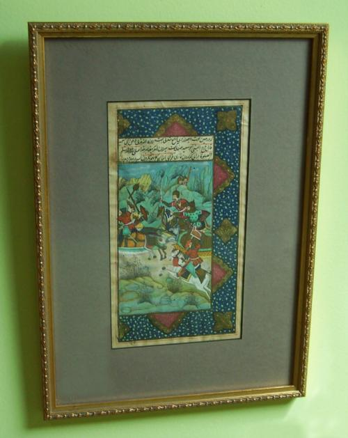 Persian Miniature Battle Scene Painting c1820 to 1840