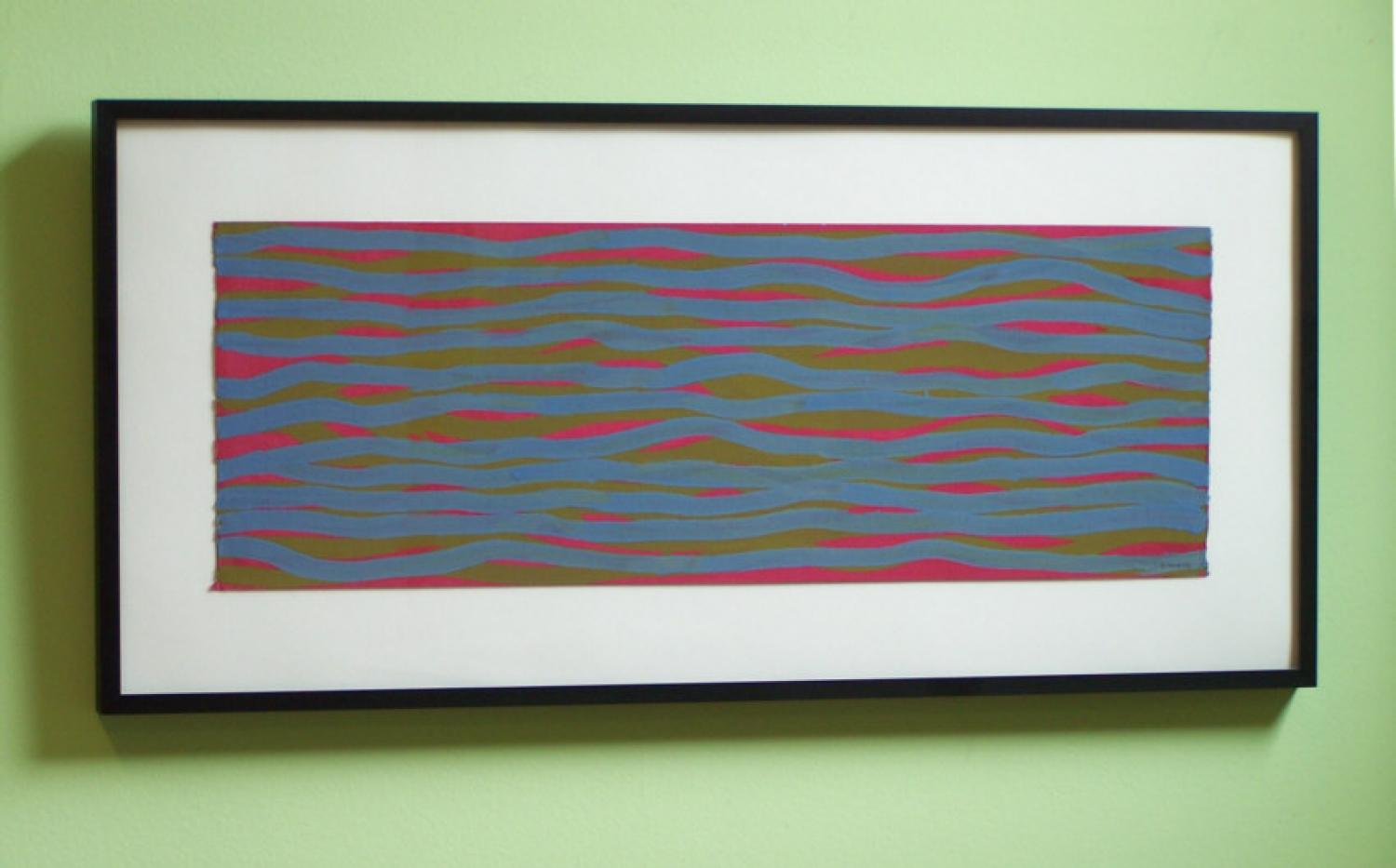 Sol Lewitt lines in color gouache on paper