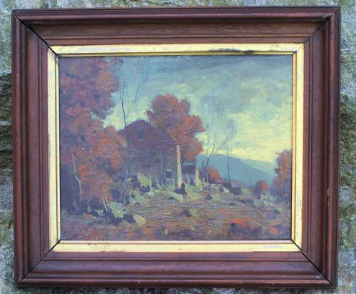 George Bruestle oil painting on board Landscape Lyme Barn c1900