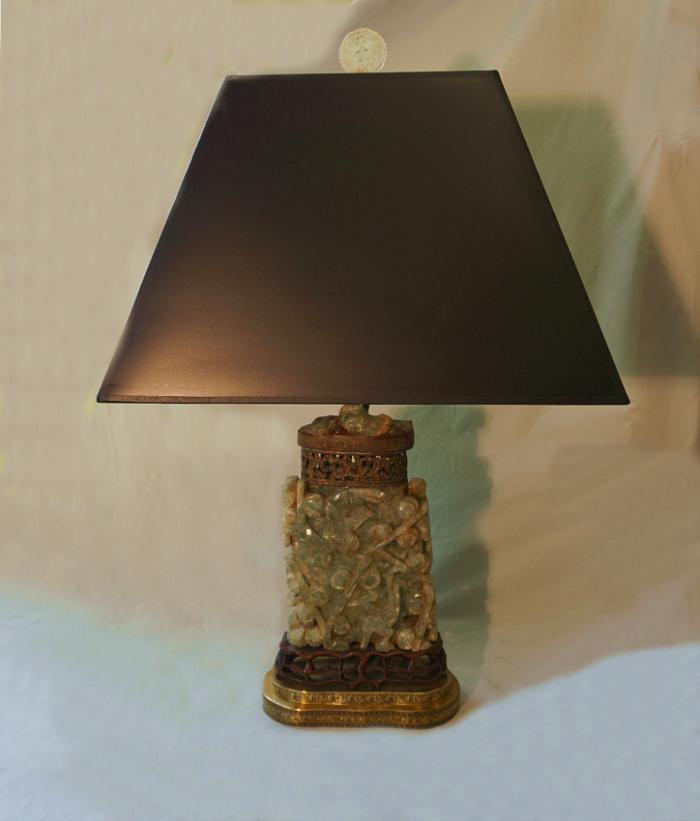 19thc Chinese green quartz Archaic form vessel lamp c1890