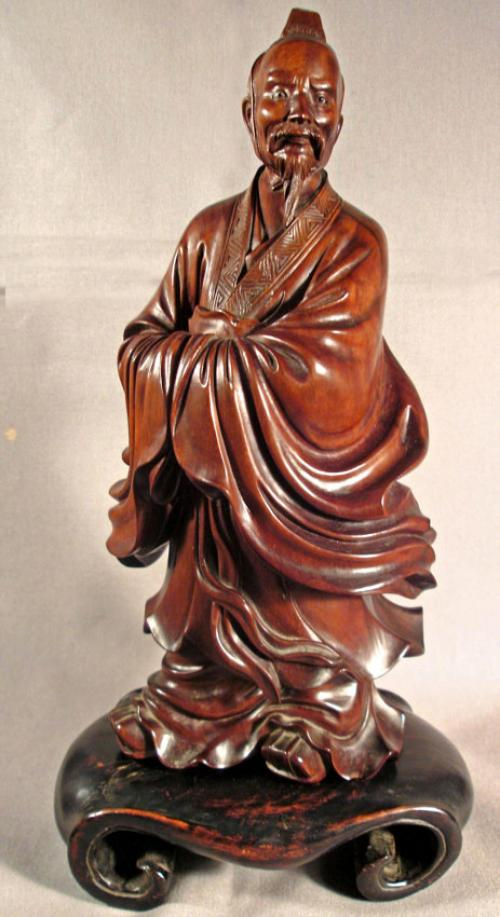 Japanese Meiji period hand carved rosewood sage c1900