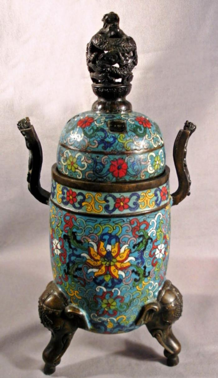 Chinese cloisonne enameled archaic form incense burner c1850
