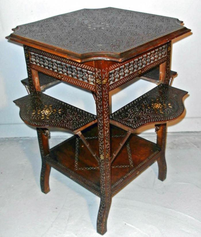 Middle Eastern Moorish style carved hardwood table c1860