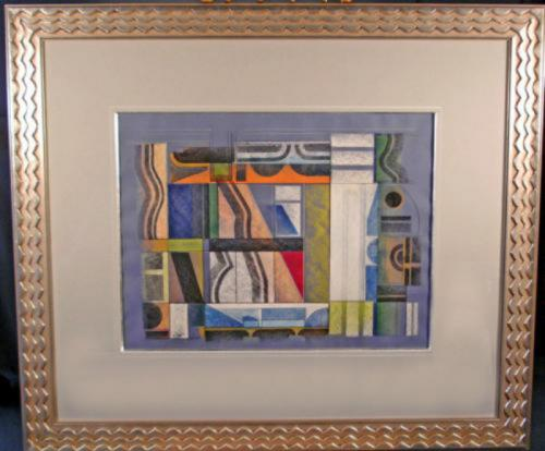 Classic geometric abstract mixed media Paul Nabb watercolor c1970