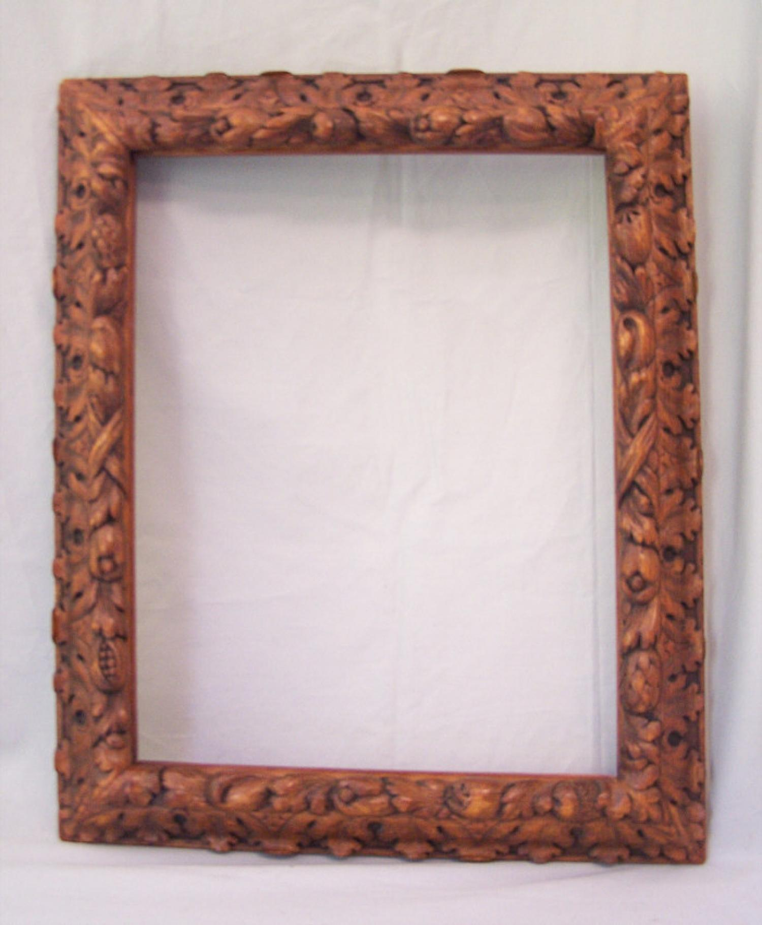 Reniassance style carved wood picture frame 19th century