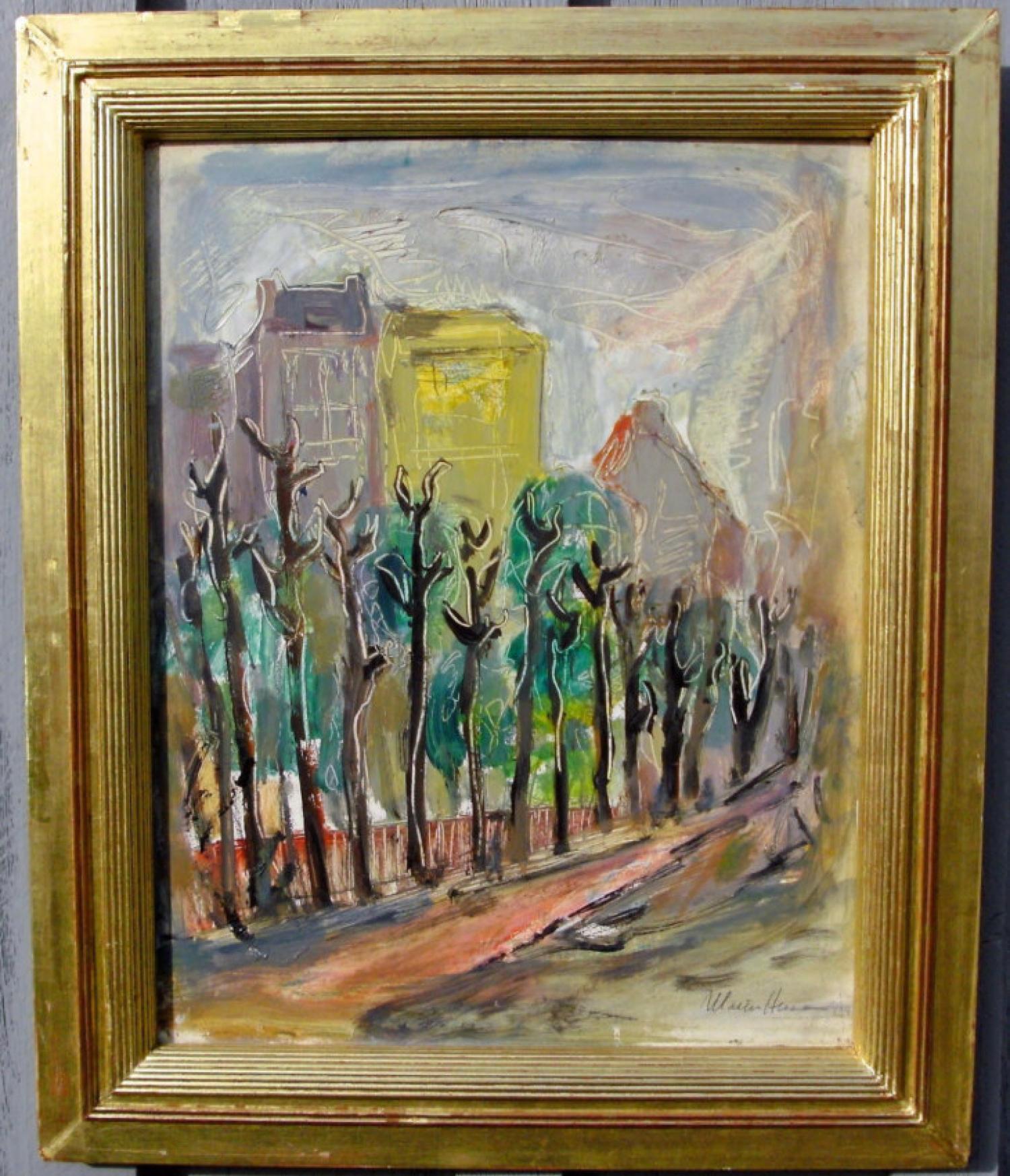 Marion Huse fauvist style oil painting on masonite