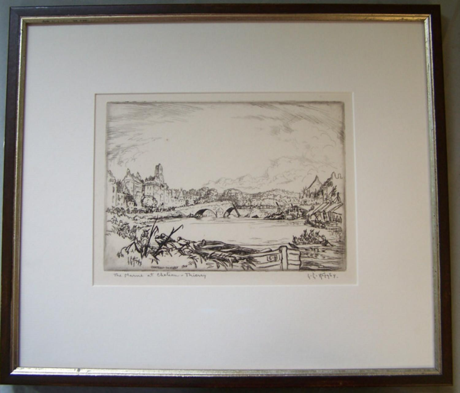 The Marne Chateau Thierry drypoint etching Lester Hornby c1918