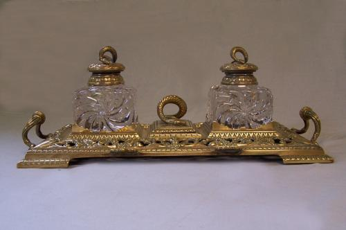 Townshend and Co brass double inkwell c1890