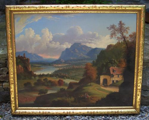 Italian romantic landscape oil painting by Michele Felice Corne