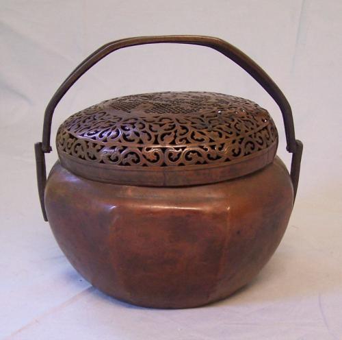Japanese bronze koro incense or hand warmer c1870